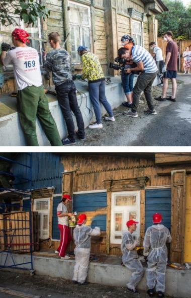 Волонтеры «Том Сойер Фест» восстанавливают фасадызданий в Челябинске. В этом году для реста