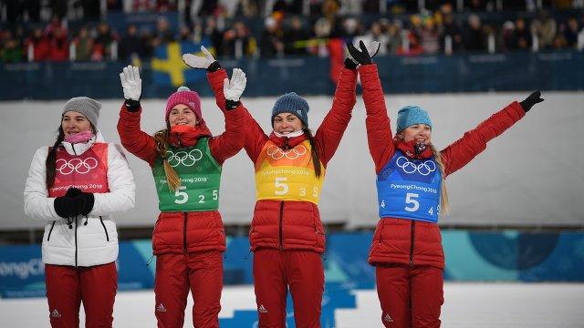 Женская команда России завоевала «бронзу» Олимпийских игр – 2018 в лыжной эстафете 4х5 км.