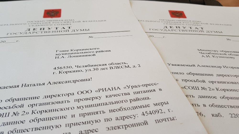 К проблеме с питанием в коркинской школьной столовой подключился депутат Государственной Думы
