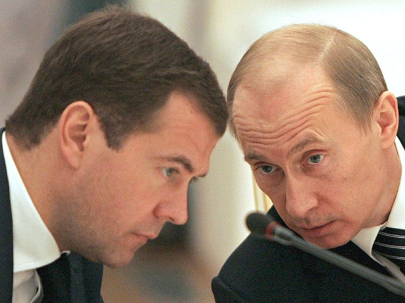 Президент России Дмитрий Медведев и премьер-министр РФ Владимир Путин примут