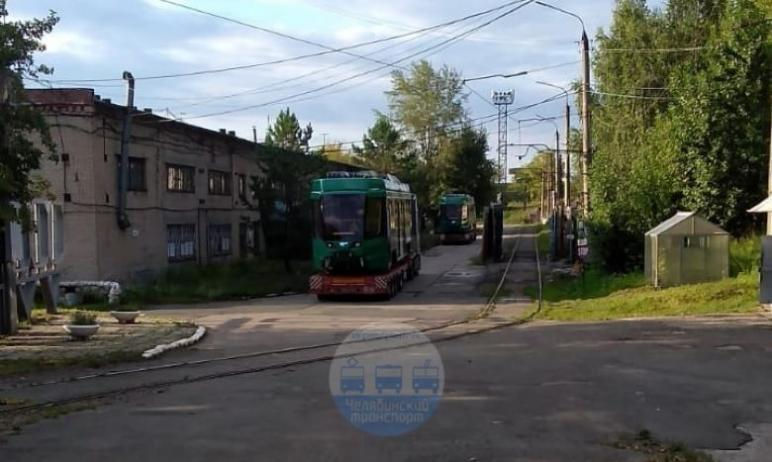 Еще два новых трамвая, собранные на Усть-Катавском вагоностроительном заводе, доставлены Челябинс
