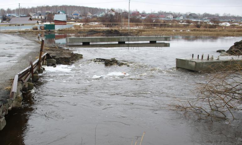 Река Зюзелга в Сосновском районе (Челябинская область) вышла из берегов, затоплены несколько мост