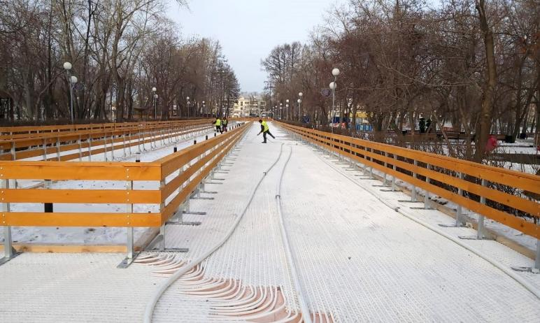 В Челябинске в парке имени Терешковой работы по заливке катка и обустройству проката коньков выхо