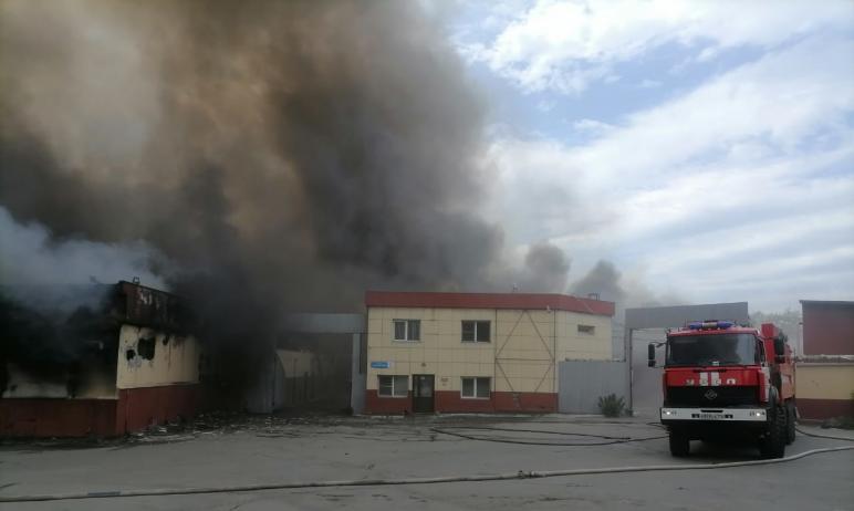 В Челябинске пожарные на жаре в +30 градусов боролись с огнем на складе более шести часов. Тушени