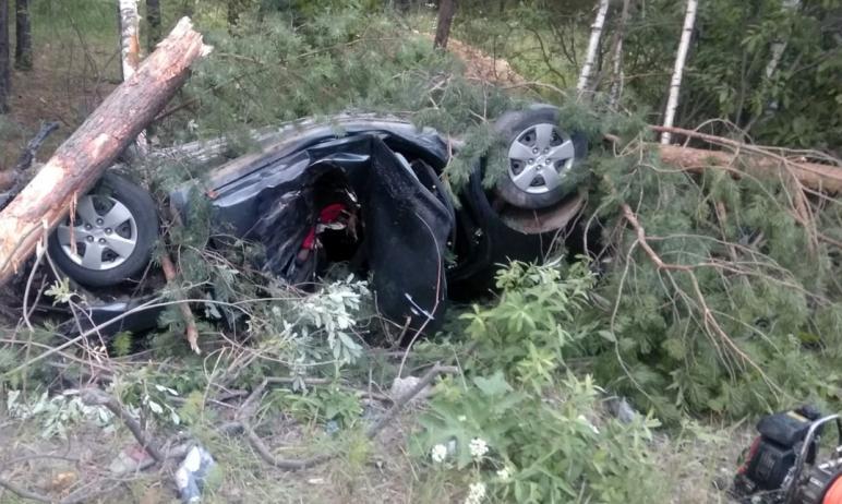 На Челябинской области на автодороге Златоуст-Миасс автомобиль Kia Ceed вылетел на обочину. В ава