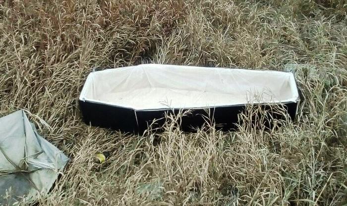Гроб обнаружили жители Советского района Челябинска за остановкой Локомотивный рядом с железнодор