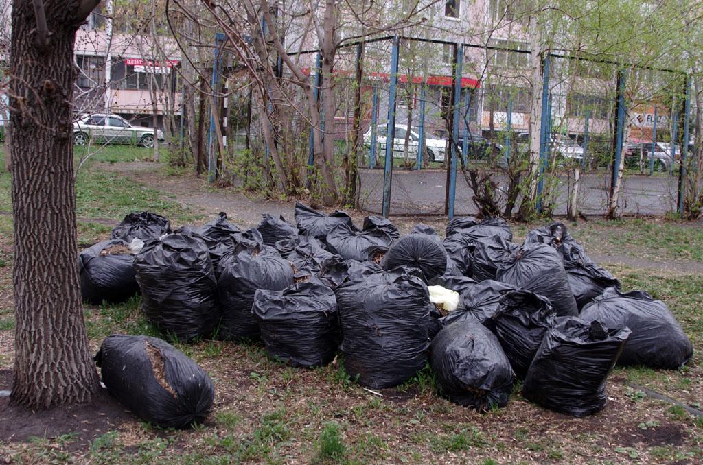 Челябинск зарастает мешками мусором, который горожане собрали на субботниках. Городские чиновники