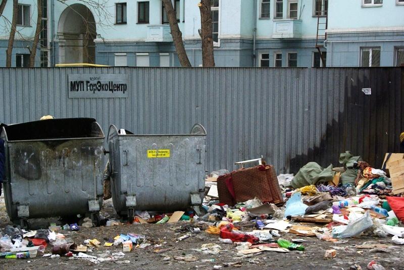 «ГорЭкоЦентр» забирает у жильцов частного сектора контейнеры для мусора. Бытовые отходы люди скла