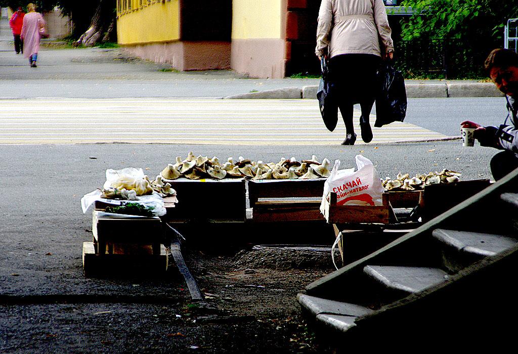 Импровизированные лотки на стихийных мини-рынках, которые предлагают жителям Челябинска фрукты и