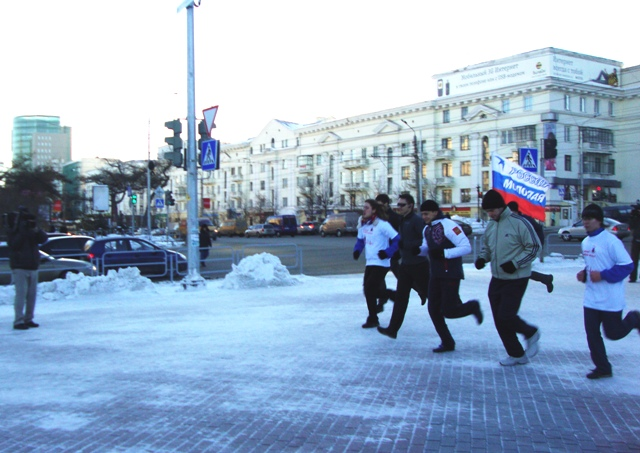 Вместе с Максимом Мищенко в оздоровительной пробежке приняли участие двадцать активистов