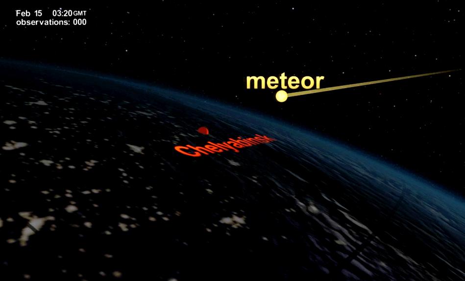 На кадрах видео, размещенном на официальном сайте НАСА, видно, как после взрыва челябинского мете