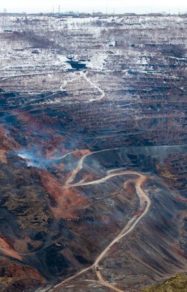 Порядка 30 тысяч квадратных метров зон самонагревания на бортах Коркинского угольного разреза (Че
