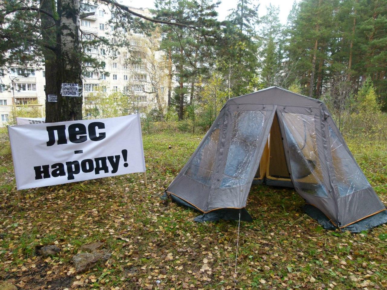 Напомним, что палаточный лагерь был разбит для прекращения вырубки деревьев. На этой земле, прина